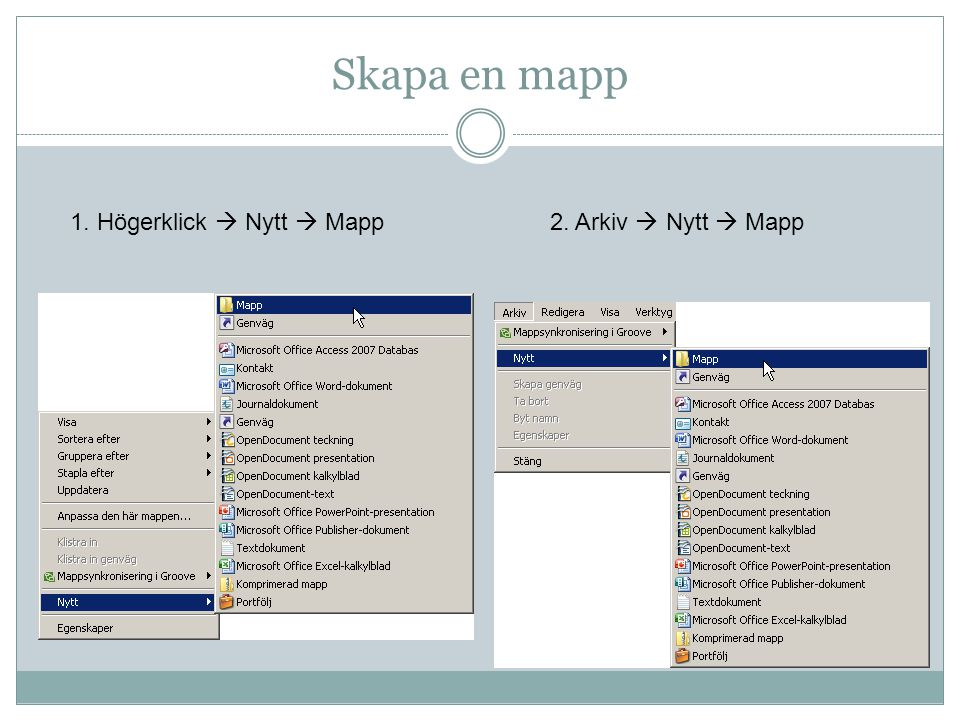 Skapa en mapp 1. Högerklick  Nytt  Mapp2. Arkiv  Nytt  Mapp