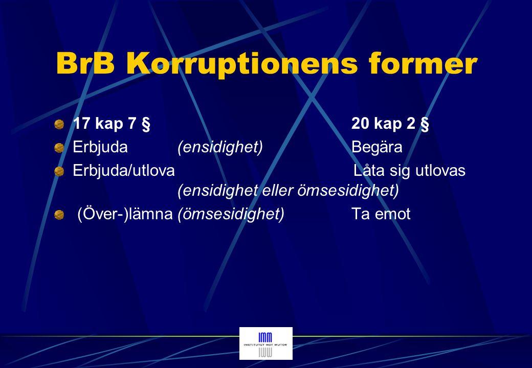 Internationella affärsförbindelser Den svenska brottsbalken är så utformad att den som befinner sig i Sverige kan åtalas och dömas här för bestickning eller mutbrott som begåtts i annat land där gärningen också är straffbar.