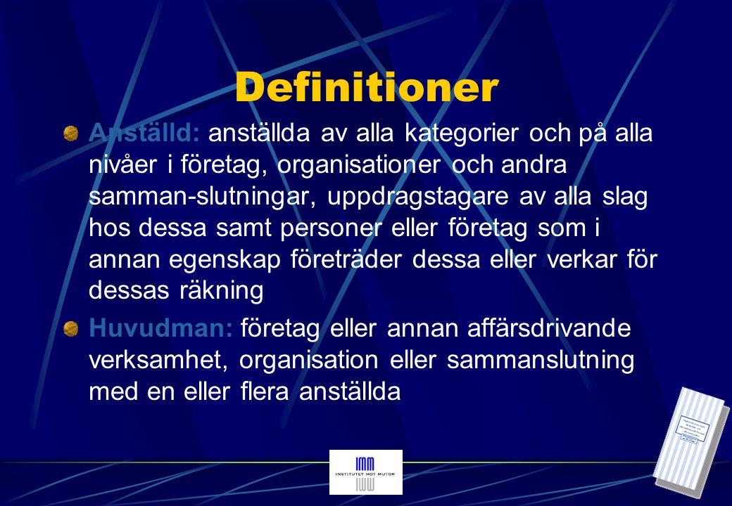 Definitioner (forts) Attitydpåverkande förmån: förmån som normalt är ägnad att enbart fungera allmänt relationsfrämjande men inte ägnad att påverka vare sig beslut eller beteenden Besluts- och beteendepåverkande förmån: förmån som medför eller är ägnad att medföra risk för besluts- eller beteendepåverkan Förmånsutbud: initiativ av en näringsidkare eller anställd hos denne som innebär att en eller flera anställda hos en huvudman erbjuds eller erhåller en attityd- eller en besluts- eller beteendepåverkande förmån Förmånskrav: extortion , dvs initiativ av en anställd som innebär att denne uttryckligen eller underförstått begär, kräver eller tilltvingar sig en attityd- eller en besluts- eller beteendepåverkande förmån Förmånsaccept: anställdas mottagande i andra fall än vid förmånskrav av en attityd-eller en besluts- eller beteendepåverkande personlig förmån eller av ett löfte om en sådan förmån