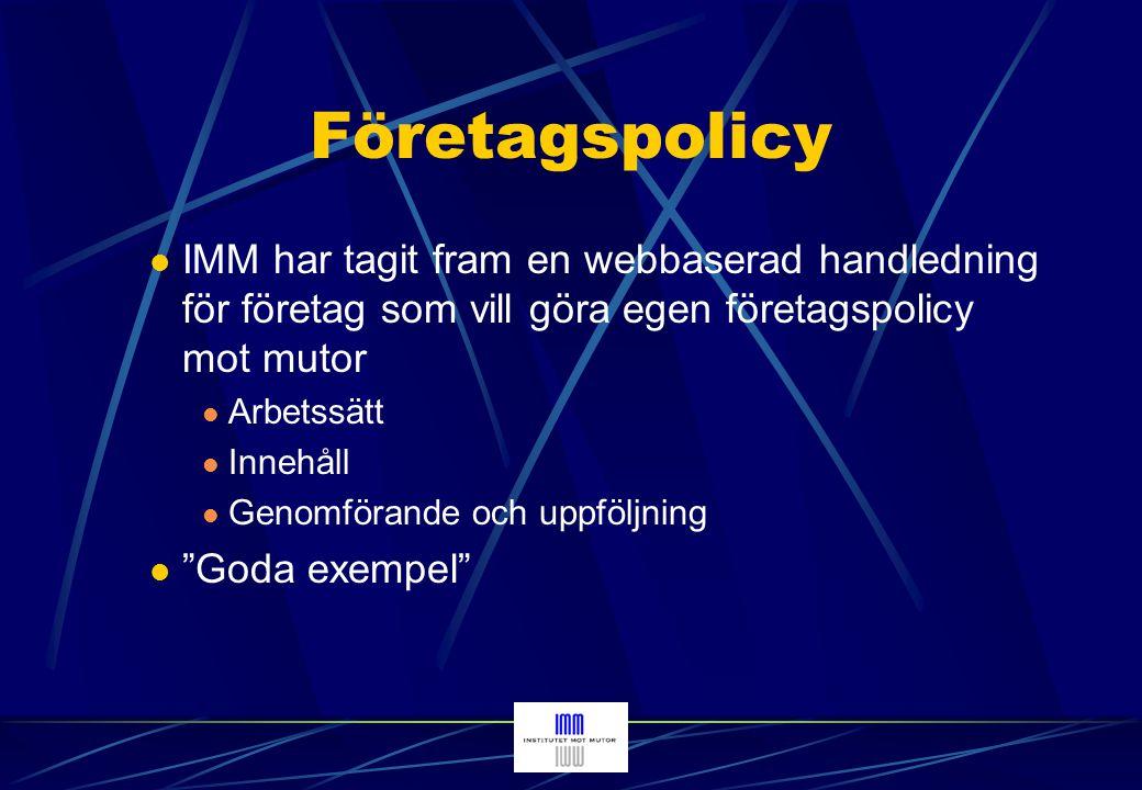 Handledning Inledning Arbetssätt för att ta fram en företagspolicy Varför ha en skriven etisk policy.