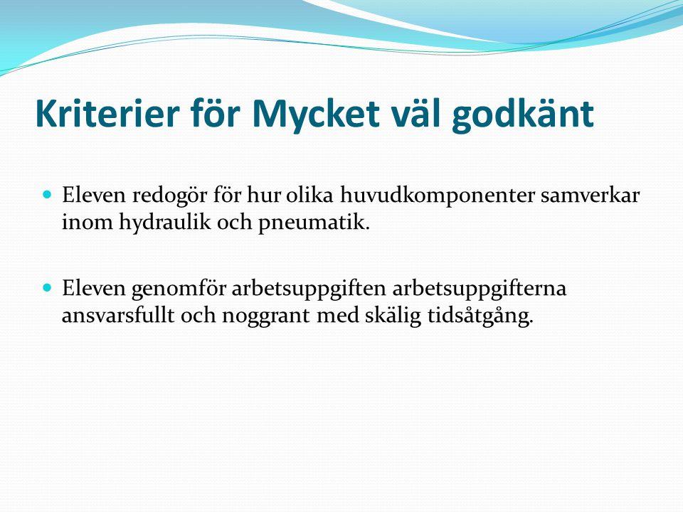 Kriterier för Mycket väl godkänt Eleven redogör för hur olika huvudkomponenter samverkar inom hydraulik och pneumatik.