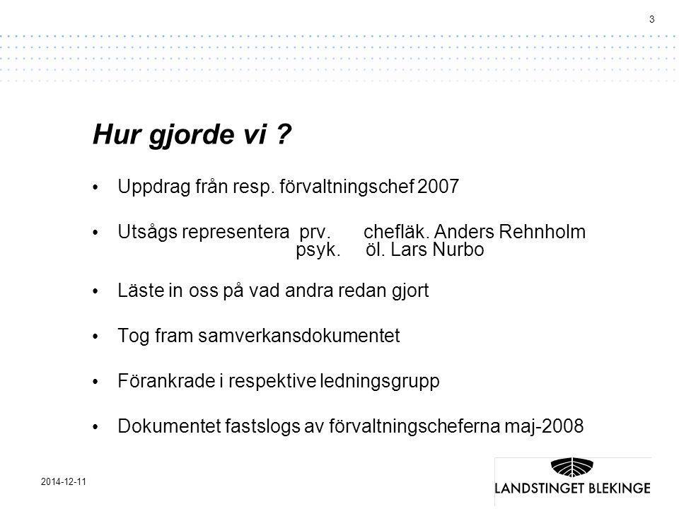 3 2014-12-11 Hur gjorde vi ? Uppdrag från resp. förvaltningschef 2007 Utsågs representera prv.chefläk. Anders Rehnholm psyk. öl. Lars Nurbo Läste in o