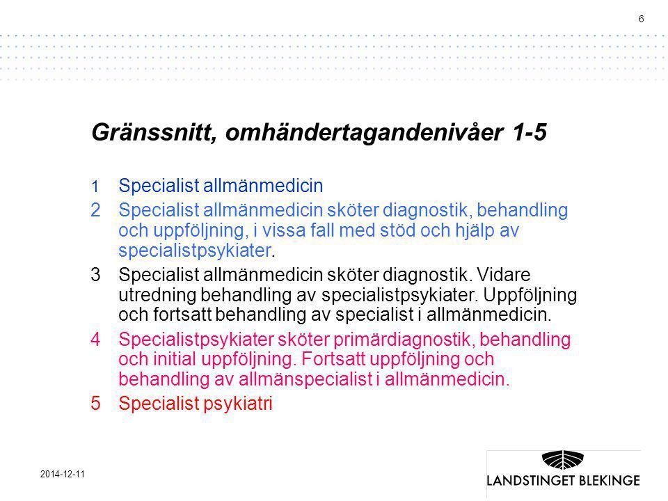 6 2014-12-11 Gränssnitt, omhändertagandenivåer 1-5 1 Specialist allmänmedicin 2Specialist allmänmedicin sköter diagnostik, behandling och uppföljning, i vissa fall med stöd och hjälp av specialistpsykiater.