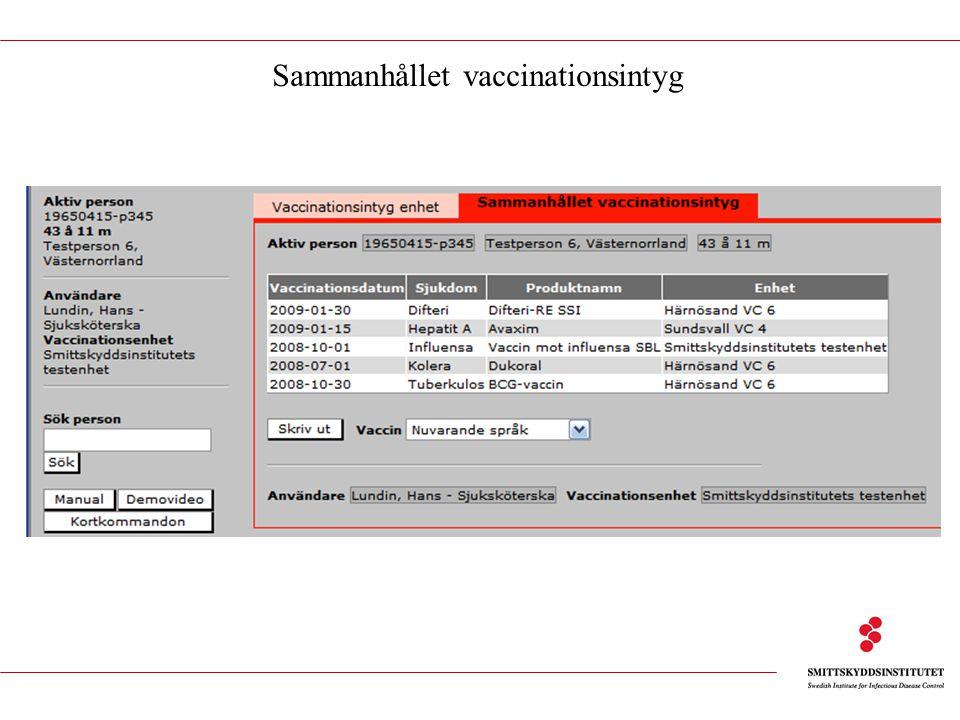 Sammanhållet vaccinationsintyg