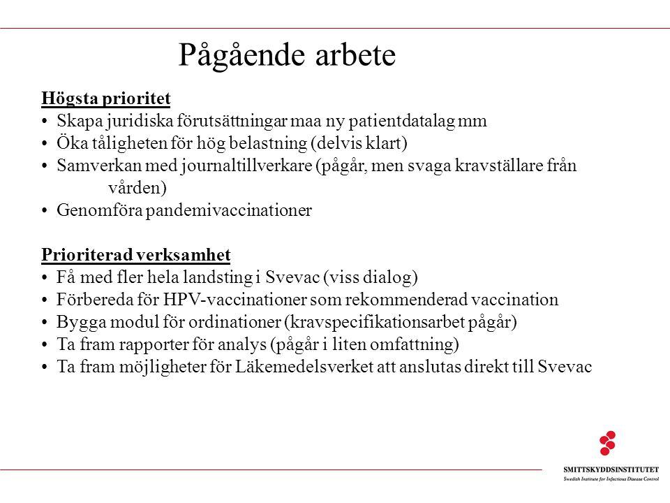 Pågående arbete Högsta prioritet Skapa juridiska förutsättningar maa ny patientdatalag mm Öka tåligheten för hög belastning (delvis klart) Samverkan med journaltillverkare (pågår, men svaga kravställare från vården) Genomföra pandemivaccinationer Prioriterad verksamhet Få med fler hela landsting i Svevac (viss dialog) Förbereda för HPV-vaccinationer som rekommenderad vaccination Bygga modul för ordinationer (kravspecifikationsarbet pågår) Ta fram rapporter för analys (pågår i liten omfattning) Ta fram möjligheter för Läkemedelsverket att anslutas direkt till Svevac