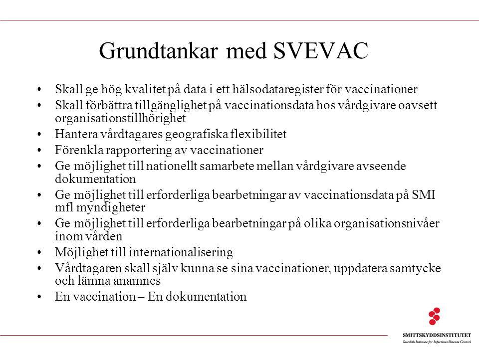 Grundtankar med SVEVAC Skall ge hög kvalitet på data i ett hälsodataregister för vaccinationer Skall förbättra tillgänglighet på vaccinationsdata hos vårdgivare oavsett organisationstillhörighet Hantera vårdtagares geografiska flexibilitet Förenkla rapportering av vaccinationer Ge möjlighet till nationellt samarbete mellan vårdgivare avseende dokumentation Ge möjlighet till erforderliga bearbetningar av vaccinationsdata på SMI mfl myndigheter Ge möjlighet till erforderliga bearbetningar på olika organisationsnivåer inom vården Möjlighet till internationalisering Vårdtagaren skall själv kunna se sina vaccinationer, uppdatera samtycke och lämna anamnes En vaccination – En dokumentation