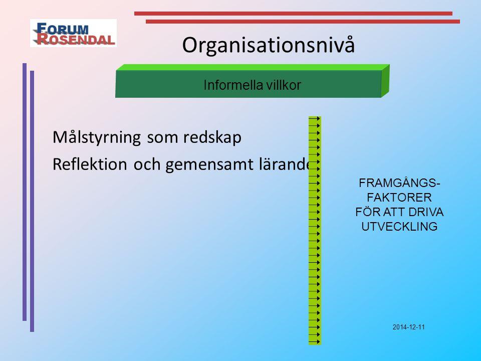 2014-12-11 Organisationsnivå Målstyrning som redskap Reflektion och gemensamt lärande Informella villkor FRAMGÅNGS- FAKTORER FÖR ATT DRIVA UTVECKLING