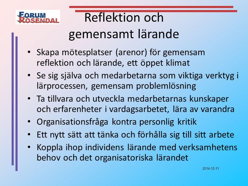 2014-12-11 Reflektion och gemensamt lärande Skapa mötesplatser (arenor) för gemensam reflektion och lärande, ett öppet klimat Se sig själva och medarbetarna som viktiga verktyg i lärprocessen, gemensam problemlösning Ta tillvara och utveckla medarbetarnas kunskaper och erfarenheter i vardagsarbetet, lära av varandra Organisationsfråga kontra personlig kritik Ett nytt sätt att tänka och förhålla sig till sitt arbete Koppla ihop individens lärande med verksamhetens behov och det organisatoriska lärandet