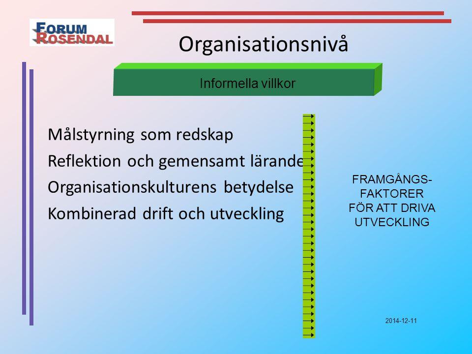 2014-12-11 Organisationsnivå Målstyrning som redskap Reflektion och gemensamt lärande Organisationskulturens betydelse Kombinerad drift och utveckling Informella villkor FRAMGÅNGS- FAKTORER FÖR ATT DRIVA UTVECKLING