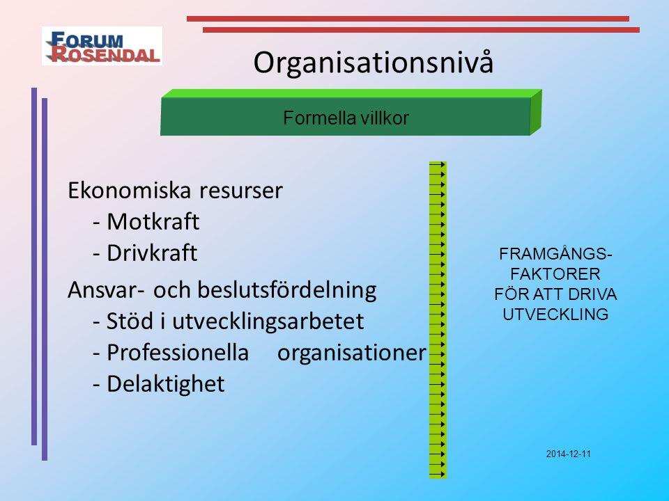 2014-12-11 Organisationsnivå Ekonomiska resurser - Motkraft - Drivkraft Ansvar- och beslutsfördelning - Stöd i utvecklingsarbetet - Professionella organisationer - Delaktighet Formella villkor FRAMGÅNGS- FAKTORER FÖR ATT DRIVA UTVECKLING