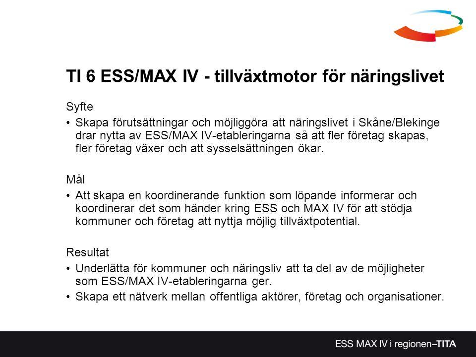TI 6 ESS/MAX IV - tillväxtmotor för näringslivet Syfte Skapa förutsättningar och möjliggöra att näringslivet i Skåne/Blekinge drar nytta av ESS/MAX IV