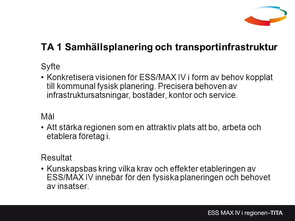 TA 1 Samhällsplanering och transportinfrastruktur Syfte Konkretisera visionen för ESS/MAX IV i form av behov kopplat till kommunal fysisk planering. P