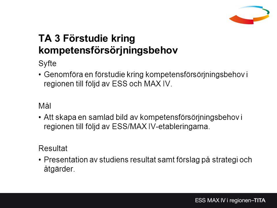 TA 3 Förstudie kring kompetensförsörjningsbehov Syfte Genomföra en förstudie kring kompetensförsörjningsbehov i regionen till följd av ESS och MAX IV.