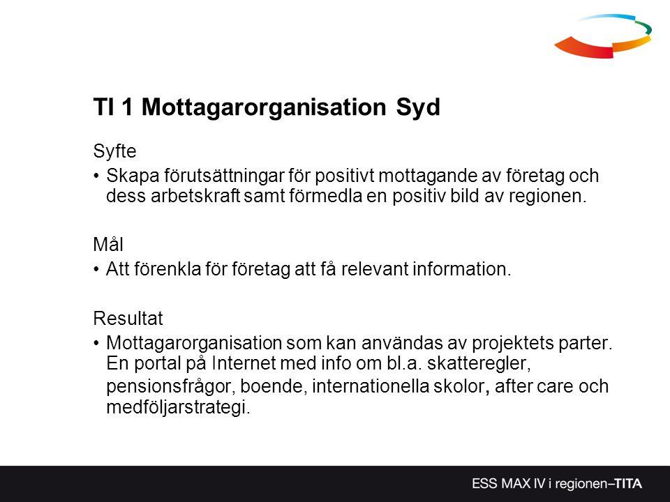 TI 1 Mottagarorganisation Syd Syfte Skapa förutsättningar för positivt mottagande av företag och dess arbetskraft samt förmedla en positiv bild av reg