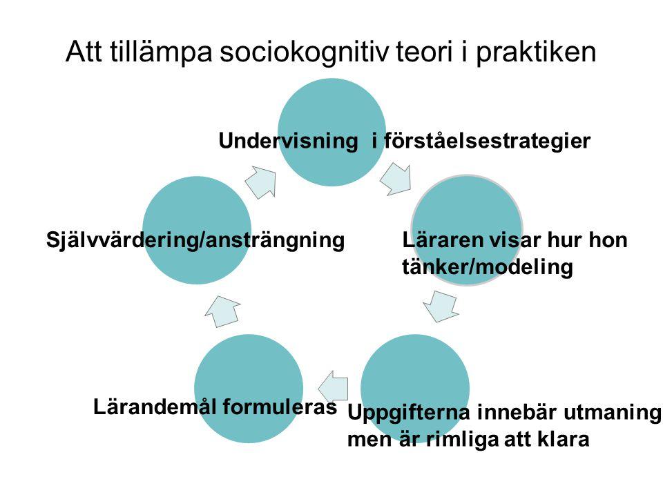 Att tillämpa sociokognitiv teori i praktiken Undervisning i förståelsestrategier Läraren visar hur hon tänker/modeling Uppgifterna innebär utmaning men är rimliga att klara Lärandemål formuleras Självvärdering/ansträngning