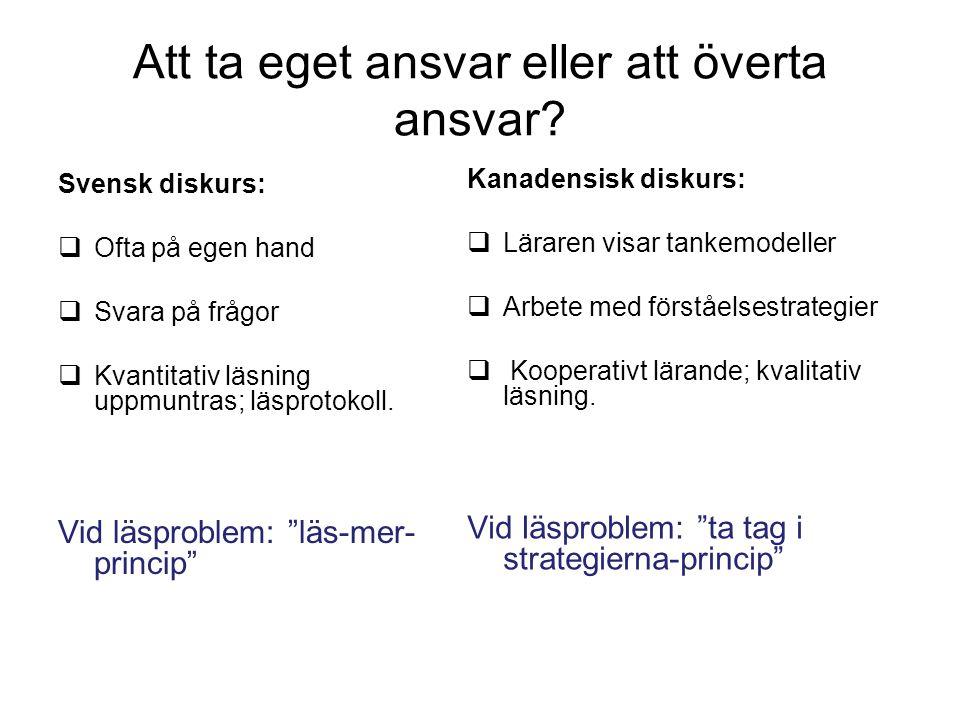 Att ta eget ansvar eller att överta ansvar? Svensk diskurs:  Ofta på egen hand  Svara på frågor  Kvantitativ läsning uppmuntras; läsprotokoll. Vid