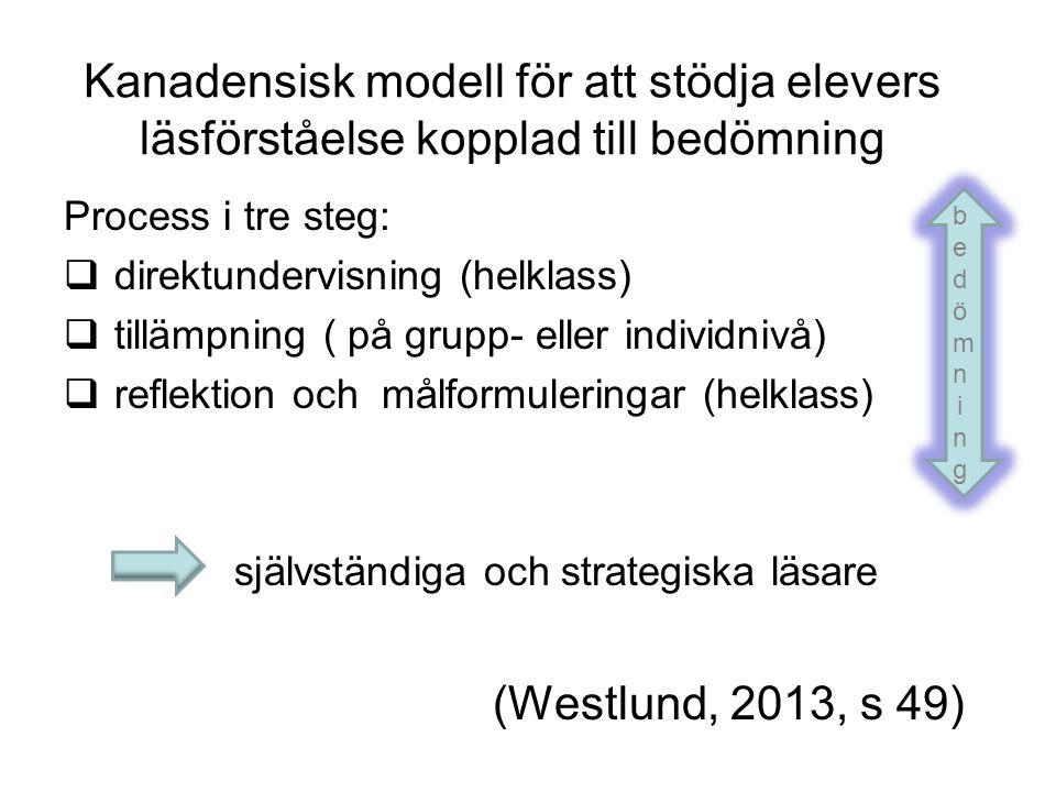 Kanadensisk modell för att stödja elevers läsförståelse kopplad till bedömning Process i tre steg:  direktundervisning (helklass)  tillämpning ( på grupp- eller individnivå)  reflektion och målformuleringar (helklass) självständiga och strategiska läsare (Westlund, 2013, s 49) bedömningbedömning