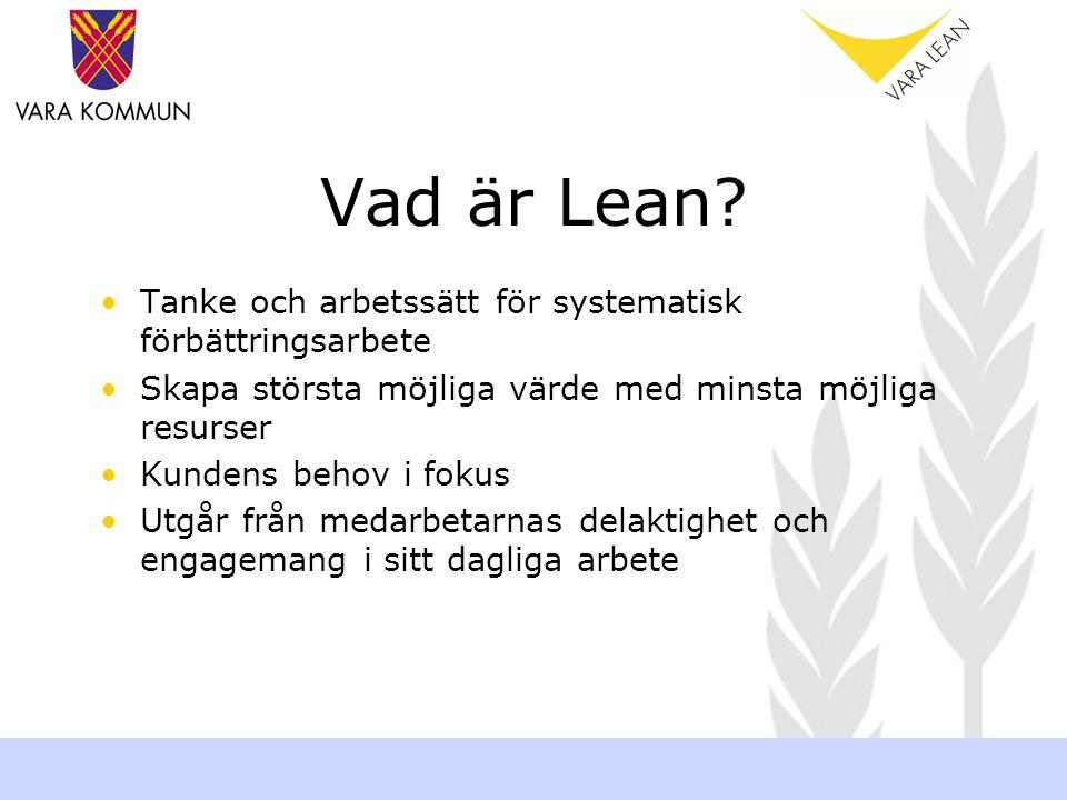 Vad är Lean? Tanke och arbetssätt för systematisk förbättringsarbete Skapa största möjliga värde med minsta möjliga resurser Kundens behov i fokus Utg