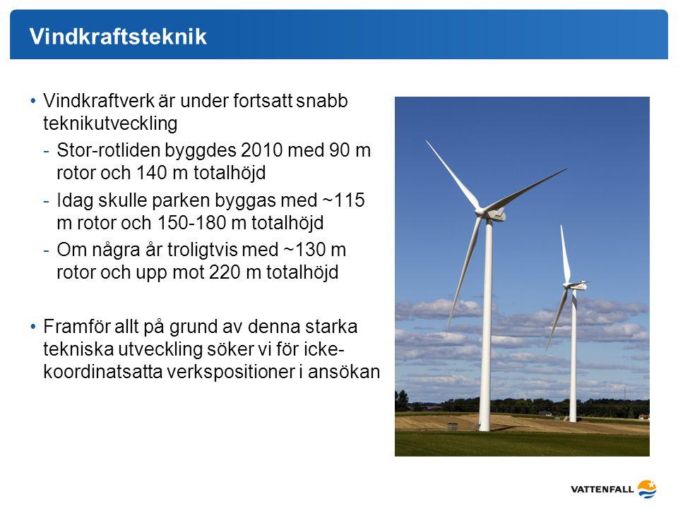 Vindkraftsteknik Vindkraftverk är under fortsatt snabb teknikutveckling -Stor-rotliden byggdes 2010 med 90 m rotor och 140 m totalhöjd -Idag skulle pa