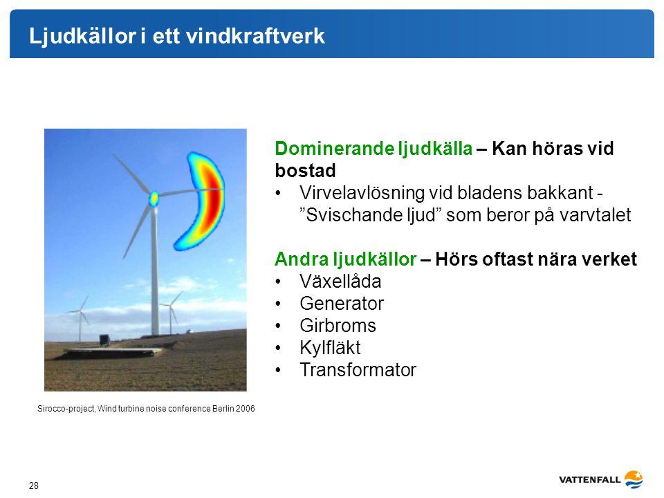 Ljudkällor i ett vindkraftverk 28 Sirocco-project, Wind turbine noise conference Berlin 2006 Dominerande ljudkälla – Kan höras vid bostad Virvelavlösn