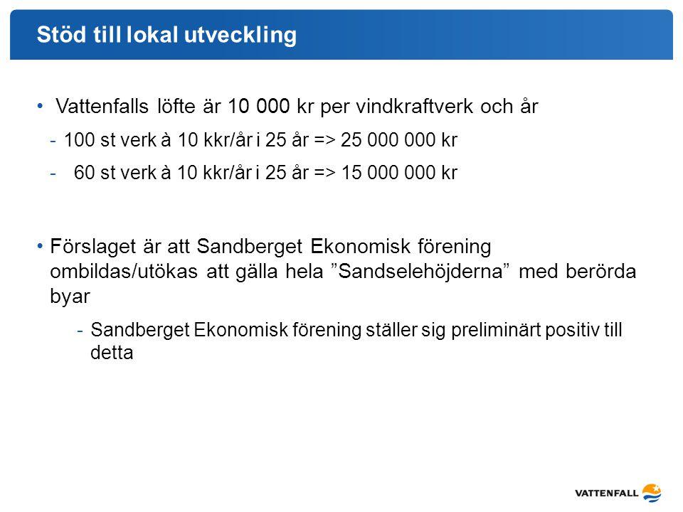 Stöd till lokal utveckling Vattenfalls löfte är 10 000 kr per vindkraftverk och år -100 st verk à 10 kkr/år i 25 år => 25 000 000 kr - 60 st verk à 10