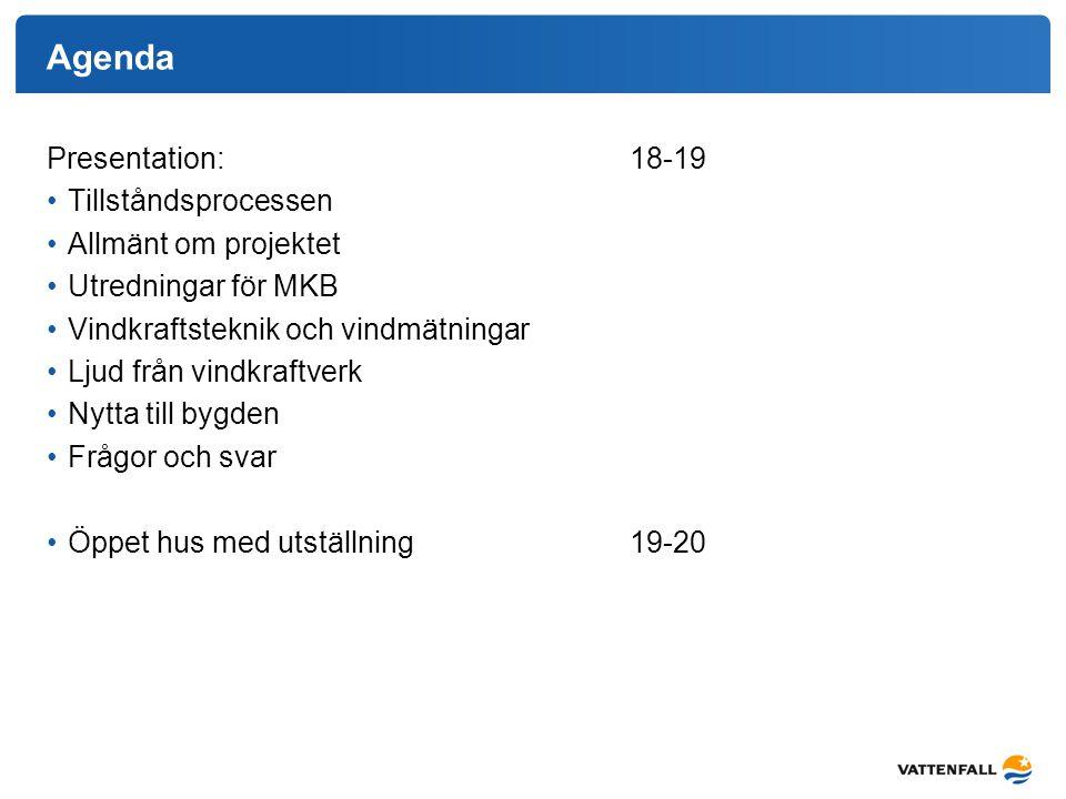 Agenda Presentation: 18-19 Tillståndsprocessen Allmänt om projektet Utredningar för MKB Vindkraftsteknik och vindmätningar Ljud från vindkraftverk Nyt