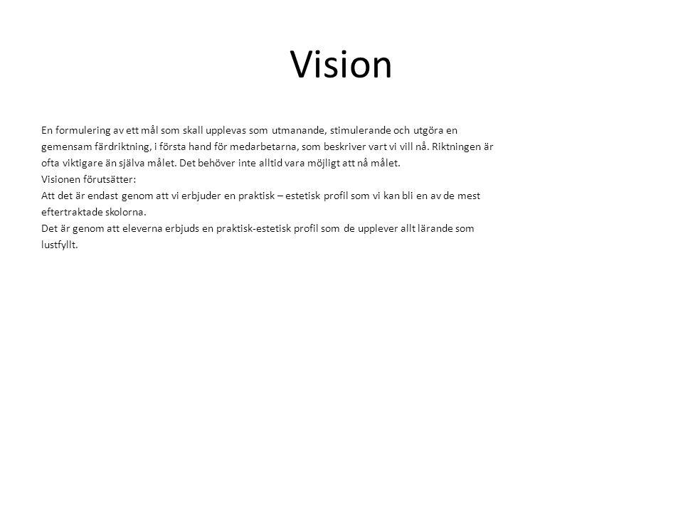 Vision En formulering av ett mål som skall upplevas som utmanande, stimulerande och utgöra en gemensam färdriktning, i första hand för medarbetarna, s