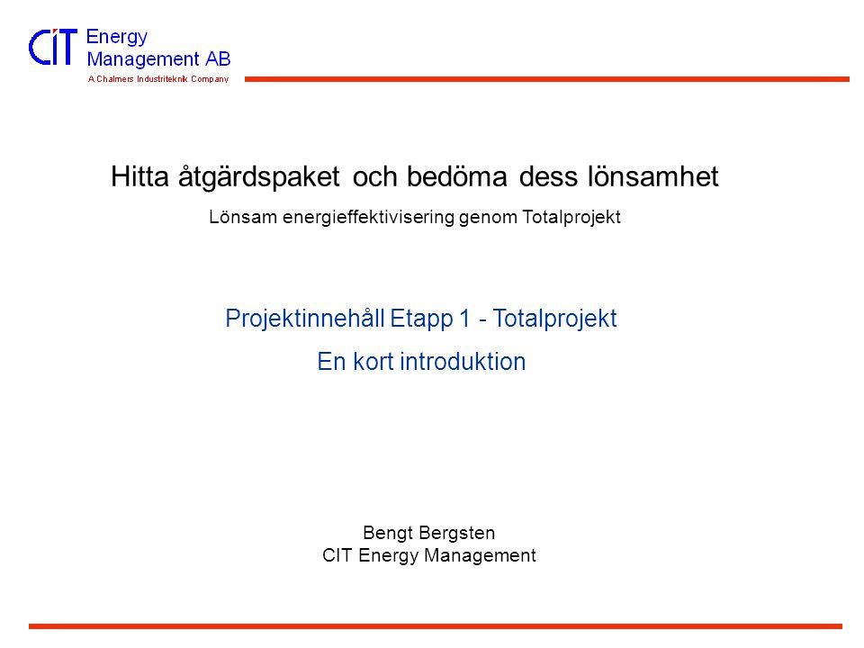 Hitta åtgärdspaket och bedöma dess lönsamhet Lönsam energieffektivisering genom Totalprojekt Projektinnehåll Etapp 1 - Totalprojekt En kort introduktion Bengt Bergsten CIT Energy Management