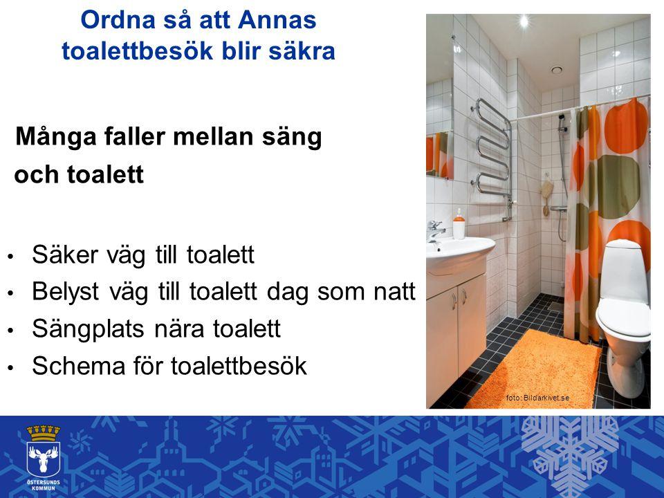 Ordna så att Annas toalettbesök blir säkra Många faller mellan säng och toalett Säker väg till toalett Belyst väg till toalett dag som natt Sängplats