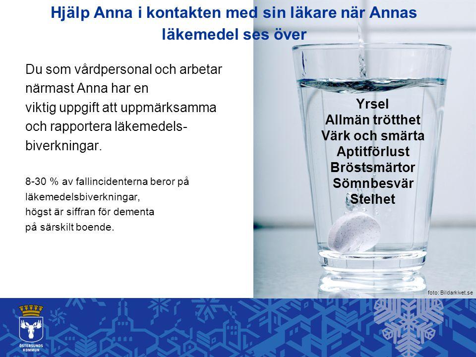 Hjälp Anna i kontakten med sin läkare när Annas läkemedel ses över Du som vårdpersonal och arbetar närmast Anna har en viktig uppgift att uppmärksamma