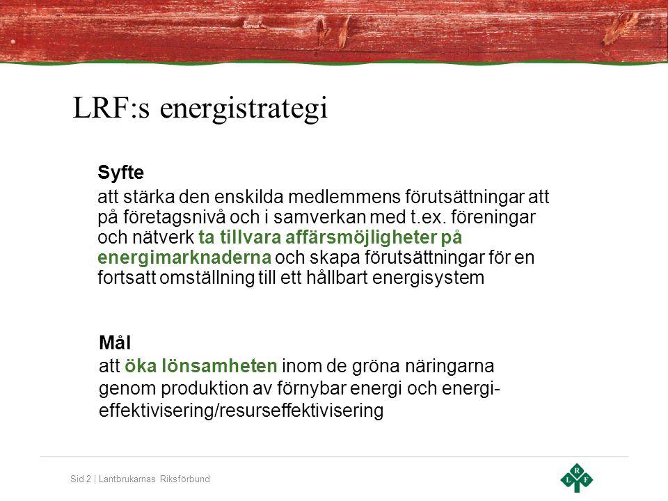 Sid 2 | Lantbrukarnas Riksförbund LRF:s energistrategi Syfte att stärka den enskilda medlemmens förutsättningar att på företagsnivå och i samverkan med t.ex.