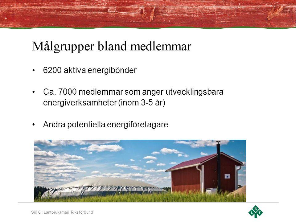 Sid 6 | Lantbrukarnas Riksförbund Målgrupper bland medlemmar 6200 aktiva energibönder Ca.