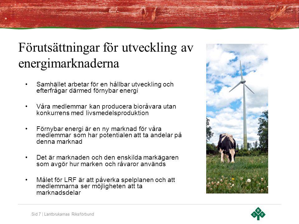 Sid 7 | Lantbrukarnas Riksförbund Förutsättningar för utveckling av energimarknaderna Samhället arbetar för en hållbar utveckling och efterfrågar därmed förnybar energi Våra medlemmar kan producera bioråvara utan konkurrens med livsmedelsproduktion Förnybar energi är en ny marknad för våra medlemmar som har potentialen att ta andelar på denna marknad Det är marknaden och den enskilda markägaren som avgör hur marken och råvaror används Målet för LRF är att påverka spelplanen och att medlemmarna ser möjligheten att ta marknadsdelar