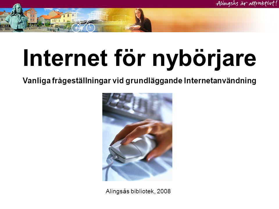Internet för nybörjare Vanliga frågeställningar vid grundläggande Internetanvändning Alingsås bibliotek, 2008