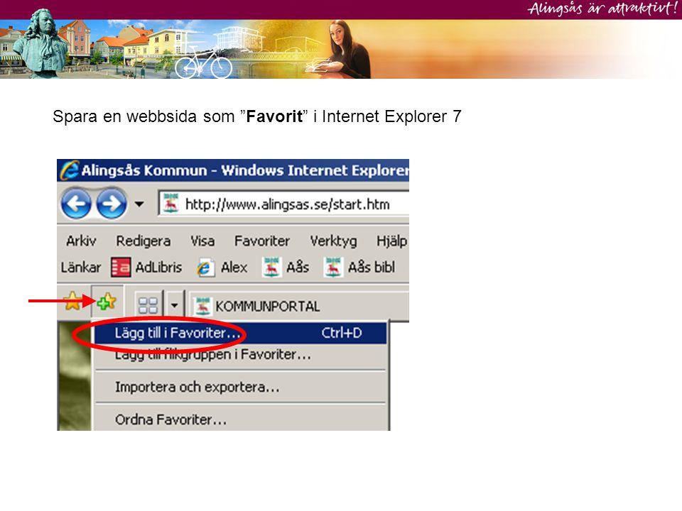 Visa en webbsida som finns i listan med Favoriter i Internet Explorer 7