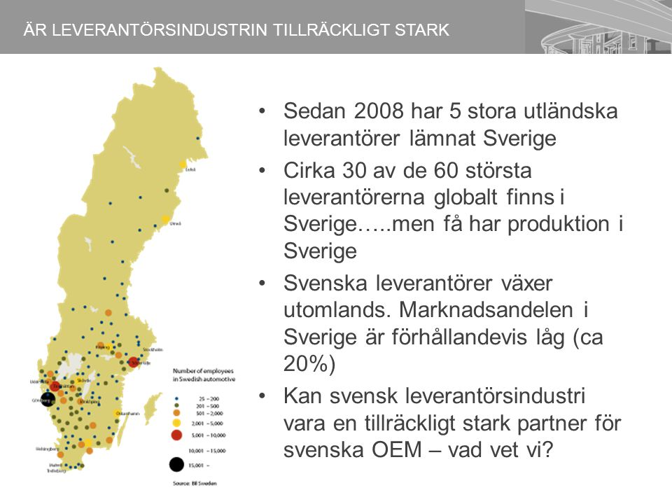 Sedan 2008 har 5 stora utländska leverantörer lämnat Sverige Cirka 30 av de 60 största leverantörerna globalt finns i Sverige…..men få har produktion i Sverige Svenska leverantörer växer utomlands.