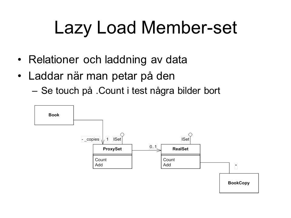 Lazy Load Member-set Relationer och laddning av data Laddar när man petar på den –Se touch på.Count i test några bilder bort