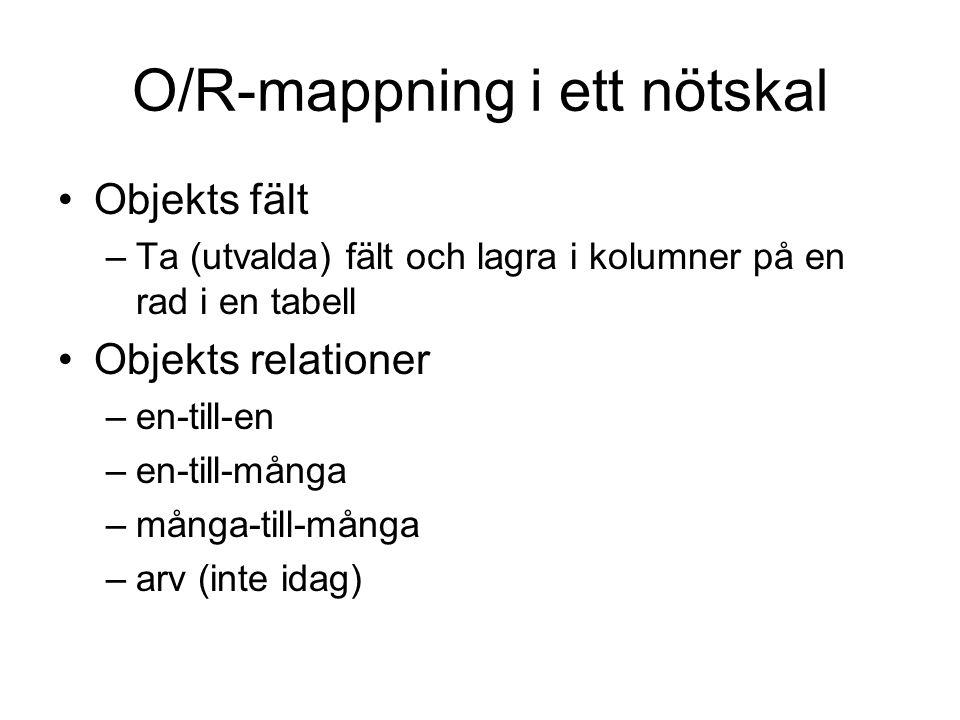 O/R-mappning i ett nötskal Objekts fält –Ta (utvalda) fält och lagra i kolumner på en rad i en tabell Objekts relationer –en-till-en –en-till-många –många-till-många –arv (inte idag)