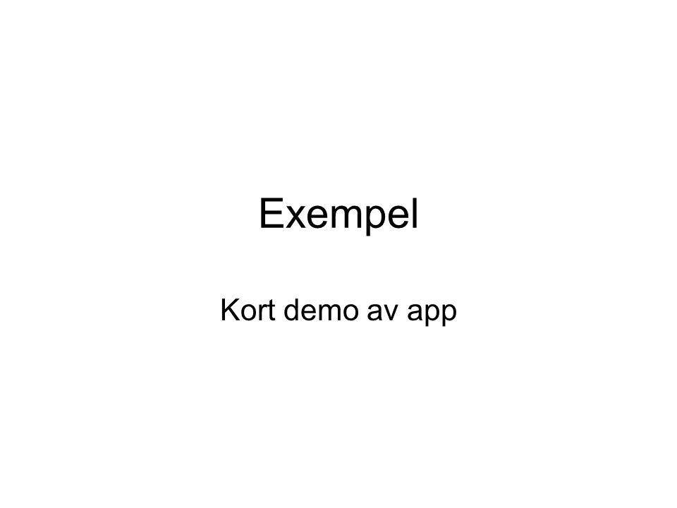 Exempel Kort demo av app