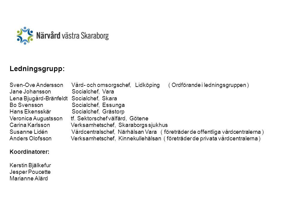 Ledningsgrupp: Sven-Ove Andersson Vård- och omsorgschef, Lidköping ( Ordförande i ledningsgruppen ) Jane Johansson Socialchef, Vara Lena Bjugård-Bränf