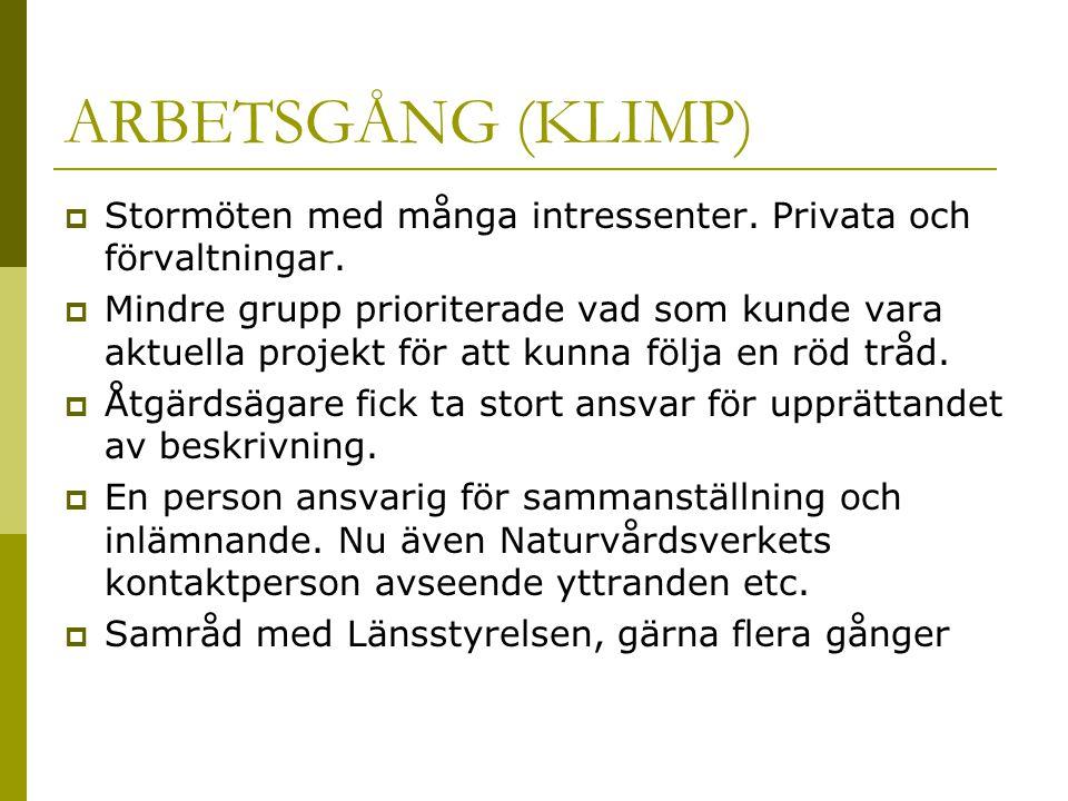 ARBETSGÅNG (KLIMP)  Stormöten med många intressenter. Privata och förvaltningar.  Mindre grupp prioriterade vad som kunde vara aktuella projekt för