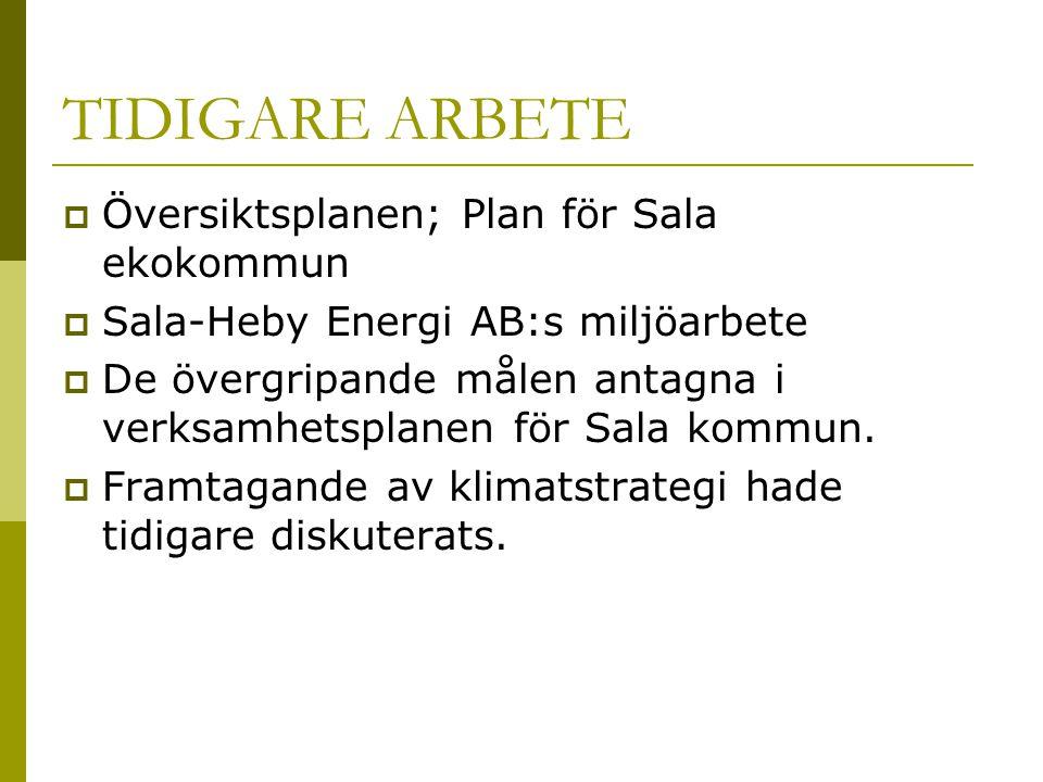 FÖRANKRING OCH ANTAGANDE  Kommunstyrelsen gav uppdraget att ta fram en klimatstrategi  Kommunstyrelsen fick löpande information och ge synpunkter på mål  Utvalda nämnder och kommunala bolagsstyrelser fick information och ge synpunkter på mål  Kommunfullmäktige antog klimatstrategin (oktober 2006)