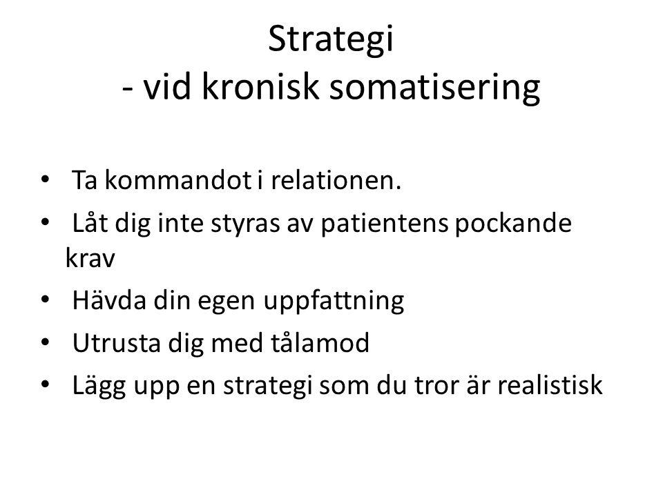 Strategi - vid kronisk somatisering Ta kommandot i relationen.