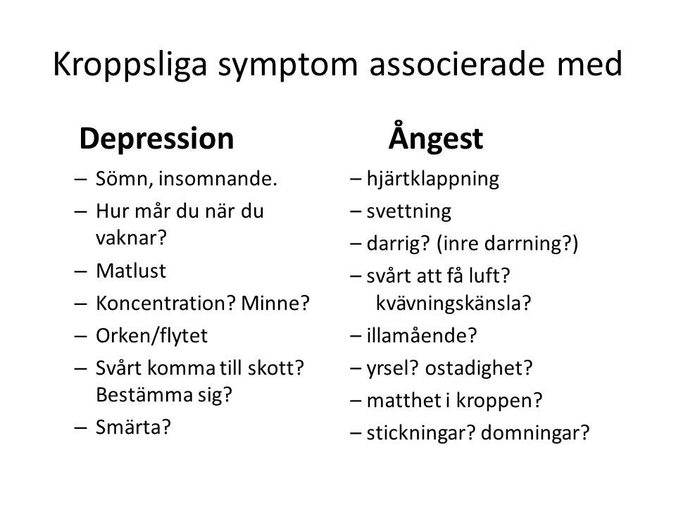 Kroppsliga symptom associerade med Depression – Sömn, insomnande.