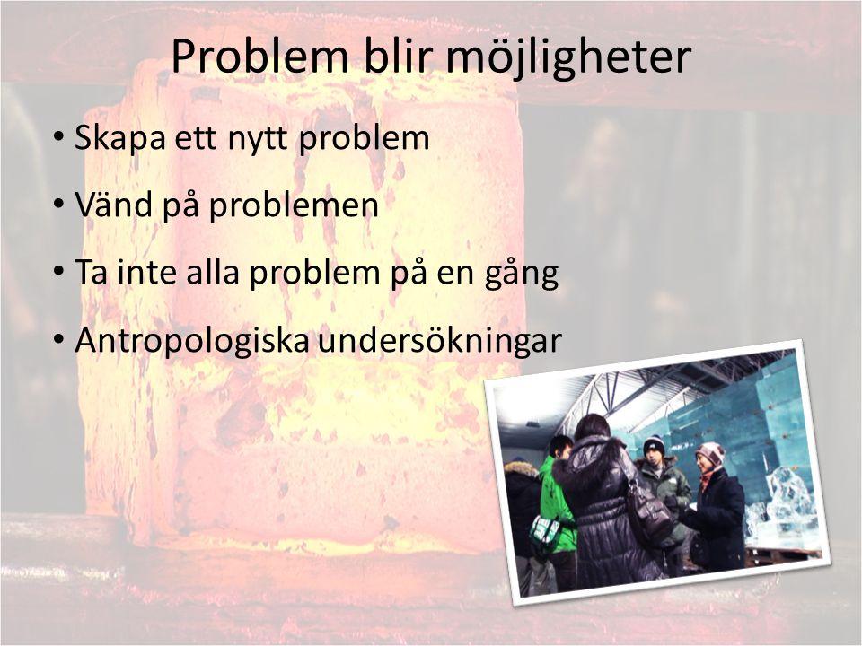 Problem blir möjligheter Skapa ett nytt problem Vänd på problemen Ta inte alla problem på en gång Antropologiska undersökningar
