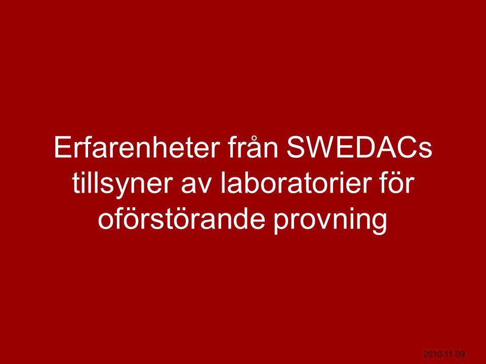 Erfarenheter från SWEDACs tillsyner av laboratorier för oförstörande provning 2010-11-09