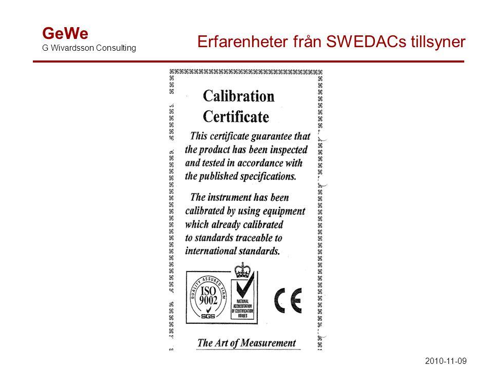 GeWe G Wivardsson Consulting Erfarenheter från SWEDACs tillsyner 2010-11-09