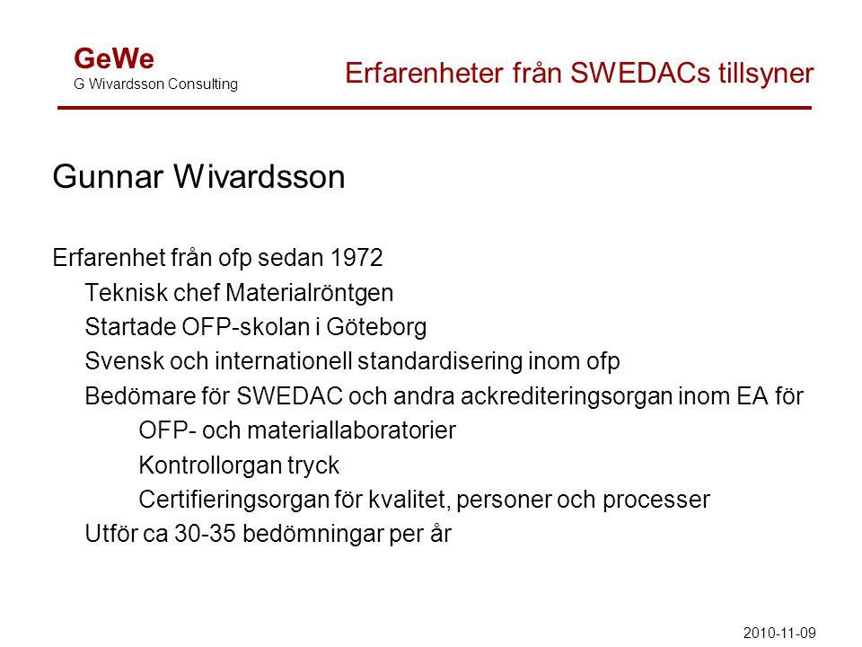 Gunnar Wivardsson Erfarenhet från ofp sedan 1972 Teknisk chef Materialröntgen Startade OFP-skolan i Göteborg Svensk och internationell standardisering