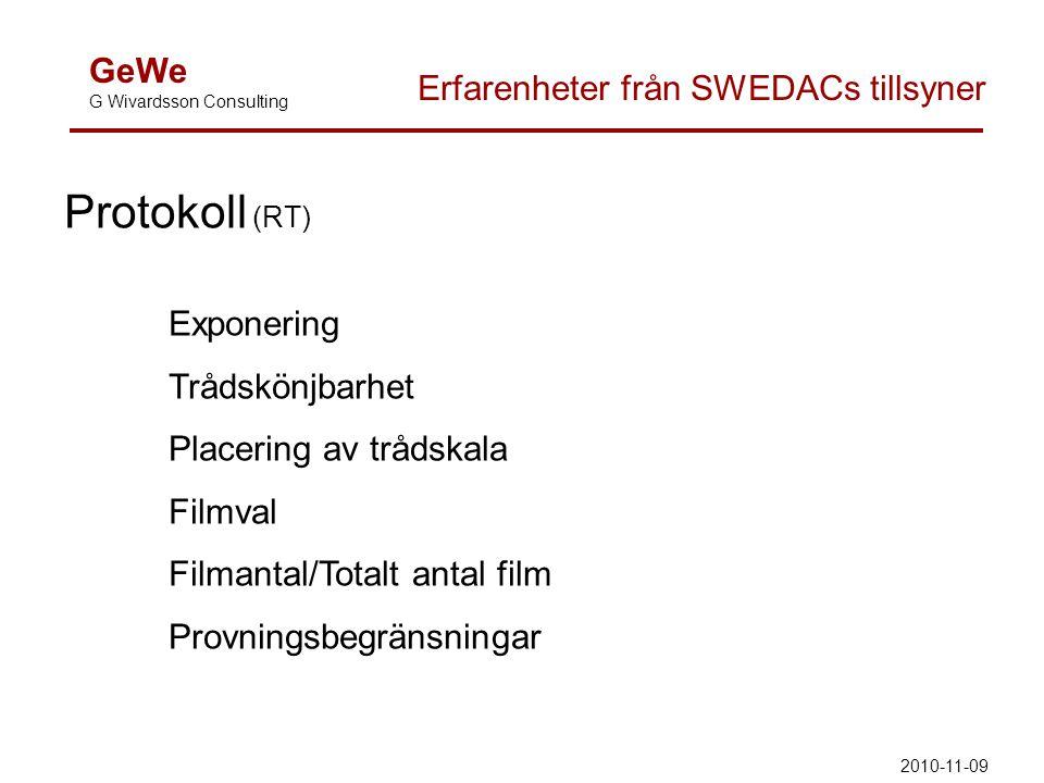 GeWe G Wivardsson Consulting Erfarenheter från SWEDACs tillsyner Protokoll (RT) Exponering Trådskönjbarhet Placering av trådskala Filmval Filmantal/Totalt antal film Provningsbegränsningar 2010-11-09