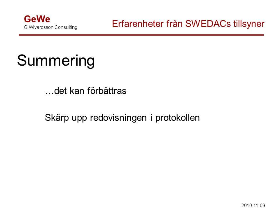 Summering …det kan förbättras Skärp upp redovisningen i protokollen GeWe G Wivardsson Consulting Erfarenheter från SWEDACs tillsyner 2010-11-09